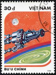stamp printed in Vietnam shows vintage Spaceship