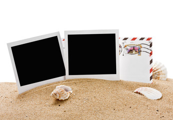 empty photo frame and a letter from vacation