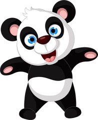 cute panda cartoon posing