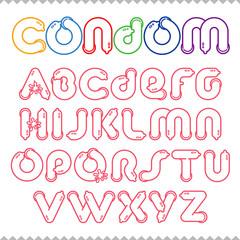 Condom alphabet. Condom letters.
