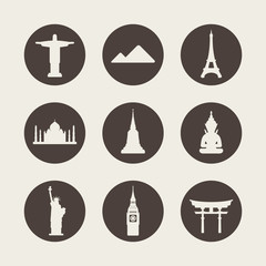 Travel destinations icons