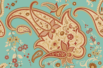 Seamless pattern with paisley motif