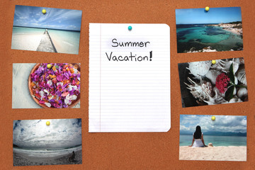 Pinned holiday pictures and notebook paper on corkboar