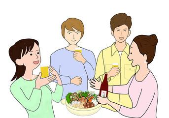 カニ料理で若者たちの宴会