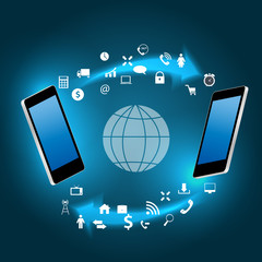 Global connecting concept with mobile phone vector illustration