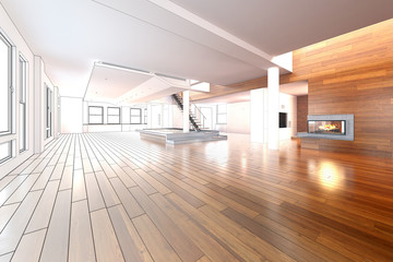 Obraz Empty Loft (drawing) - fototapety do salonu