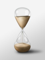 Hourglass isolated object. Simple sand glass clock