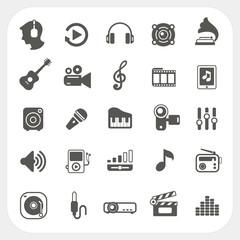 Music icons set on white background