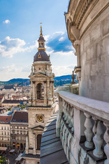 Fototapete - Aerial view at Budapest from the top of St Stephen Basilica