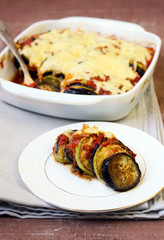 Aubergine, courgette tomato bake