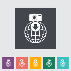 Photo download single flat icon.