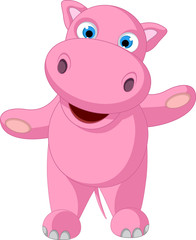 cute baby hippo cartoon standing