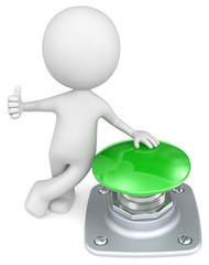 Green Button.The Dude with thumb up and hand on green button.