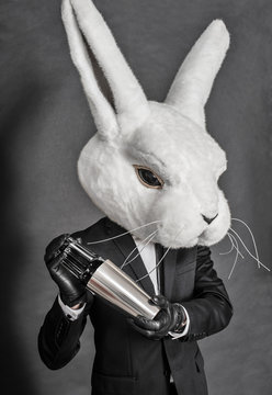 man in hare mask . black suit barman on gray background