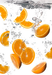 Healthy Water with Fresh Oranges. Drops