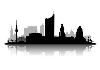 Leipzig Silhouette ,detailliert