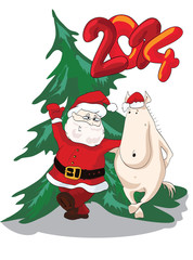 Funny horse dancing with cheerful Santa. New Year 2014