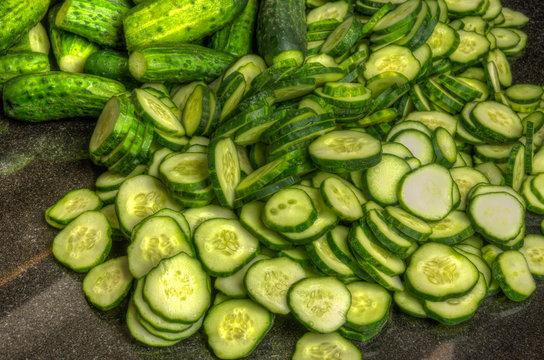 Freshly sliced pickles or cucumbers
