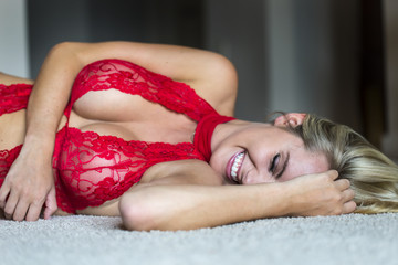 Blonde Model in Lingerie