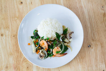 Mixed Seafood Basil with rice