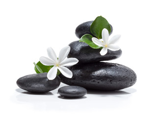 Wall Mural - tiare flowers, candle and black stone spa
