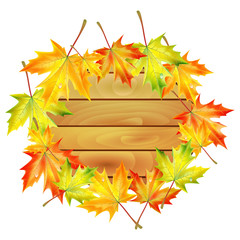 wooden noticeboard decorated with autumn maple leaves isolated o