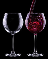 full and empty wine glass