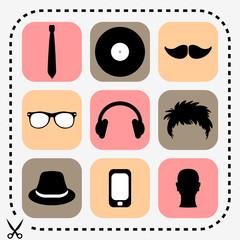 Set of stylish hipster icons
