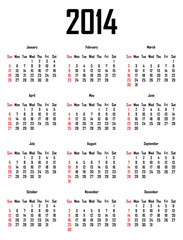 Calendar for 2014 - week starts with sunday