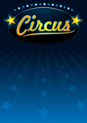 Blue circus poster with star shapes