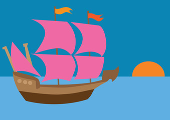 Ship with scarlet sails
