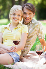 Date in park. Happy young couple drinking wine on a picnic