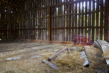 Inside the old barn