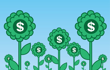Multiple green flowers with dollar symbols