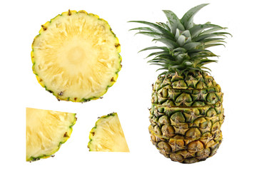Pineapple slices and Pineapple Fruit.