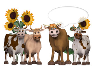 cows und bull saying something interesting