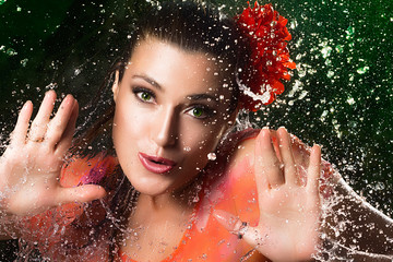 Beauty Brunette Girl. Water Splash