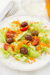 salad on the white plate