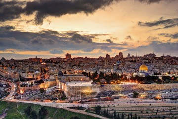 Canvas Prints Middle East Jerusalem Old City Skyline