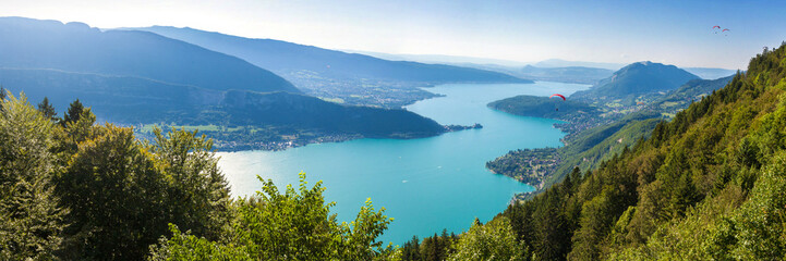 Panoramic view of the Annecy lake from Col du Forclaz   Wall mural