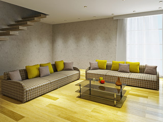 Livingroom  with two sofas