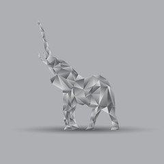 Canvas Prints Geometric animals Origami elephant, vector