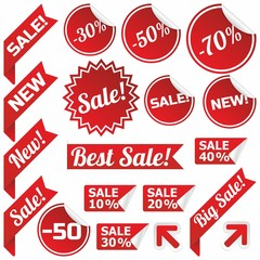 Vector red price tags, labels, stickers