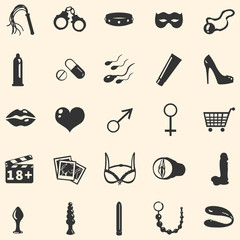 vector sex shop icons