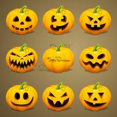 Vector Illustration of Scary Halloween Pumpkins
