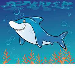 Funny cartoon shark in the sea