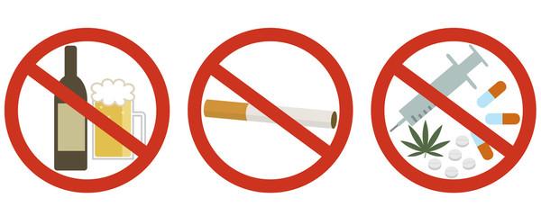 酒・たばこ・薬物禁止 Wall mural