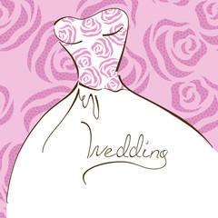 Wedding invitation with bridal dress