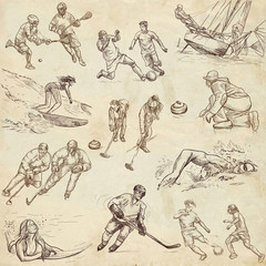 sporting events around the world - hand drawn collection