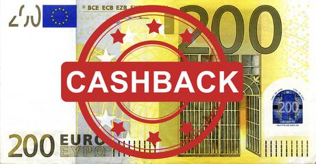 200 Euroschein mit Cashback Stempel